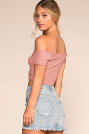Tops - Sweet Ivy Off The Shoulder Ruched Crop Top - Pink