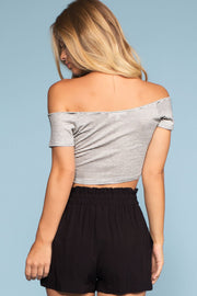 Tops - Sweet Ivy Off The Shoulder Ruched Crop Top - White