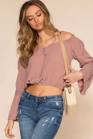 Sweet Ivy Off The Shoulder Ruched Crop Top - Pink