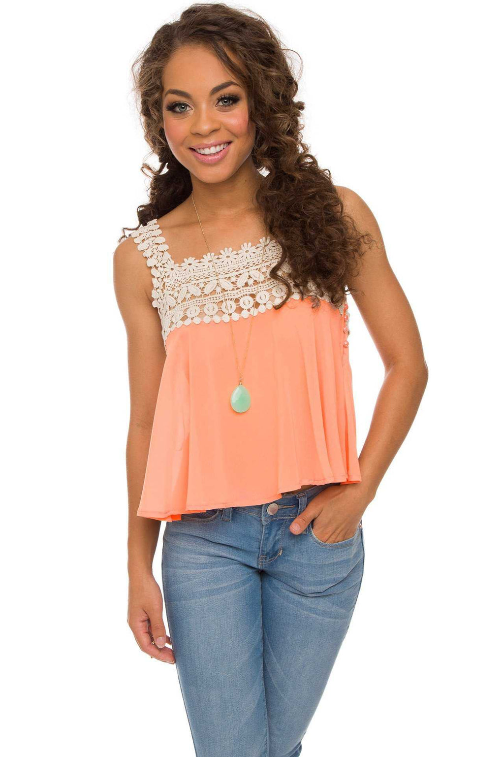 Tops - Te Amo Crochet Top In Peach