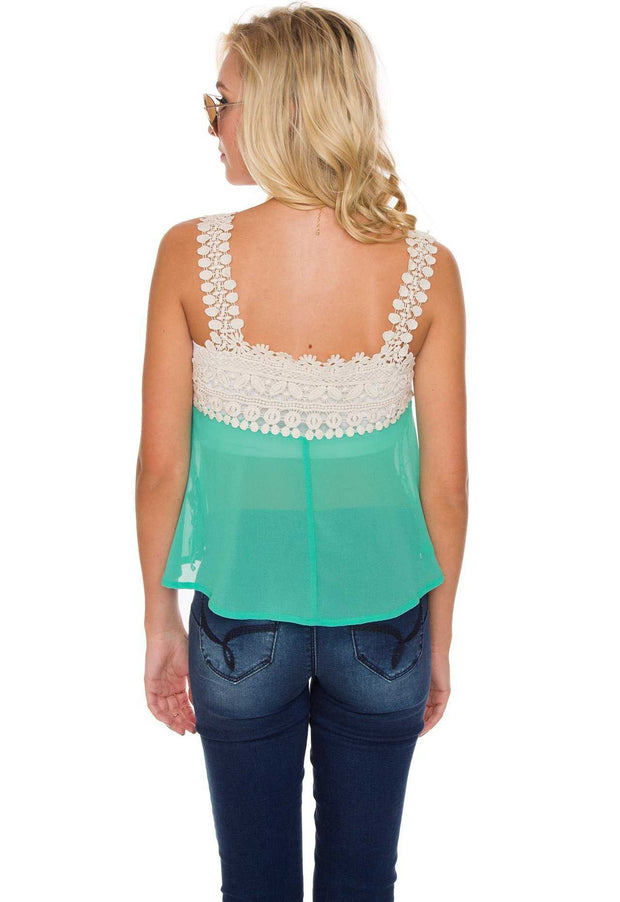 Tops - Te Amo Crochet Top - Mint