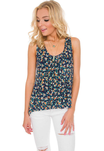 Tops - Tiana Floral Top In Navy