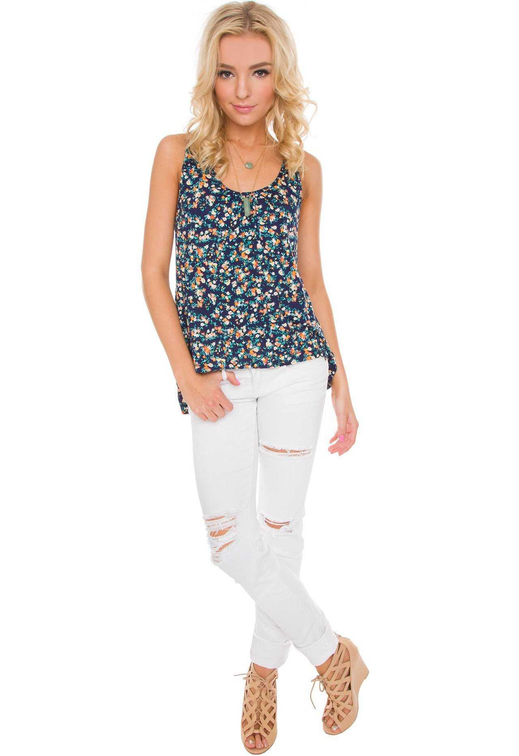 Tiana Floral Top In Navy Inside Flats Cariana 38 Tops