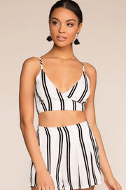 Tops - Tomas Black And White Striped Crop Top