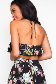 Tops - Tropic Sunset Crop Top - Black