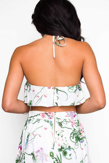 Tops - Tropic Sunset Crop Top - White
