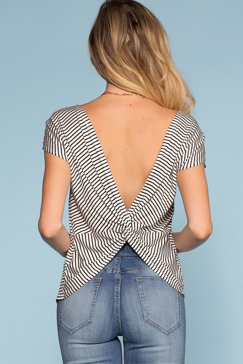Tops - Tyler Twist-Back Black And White Stripe Top