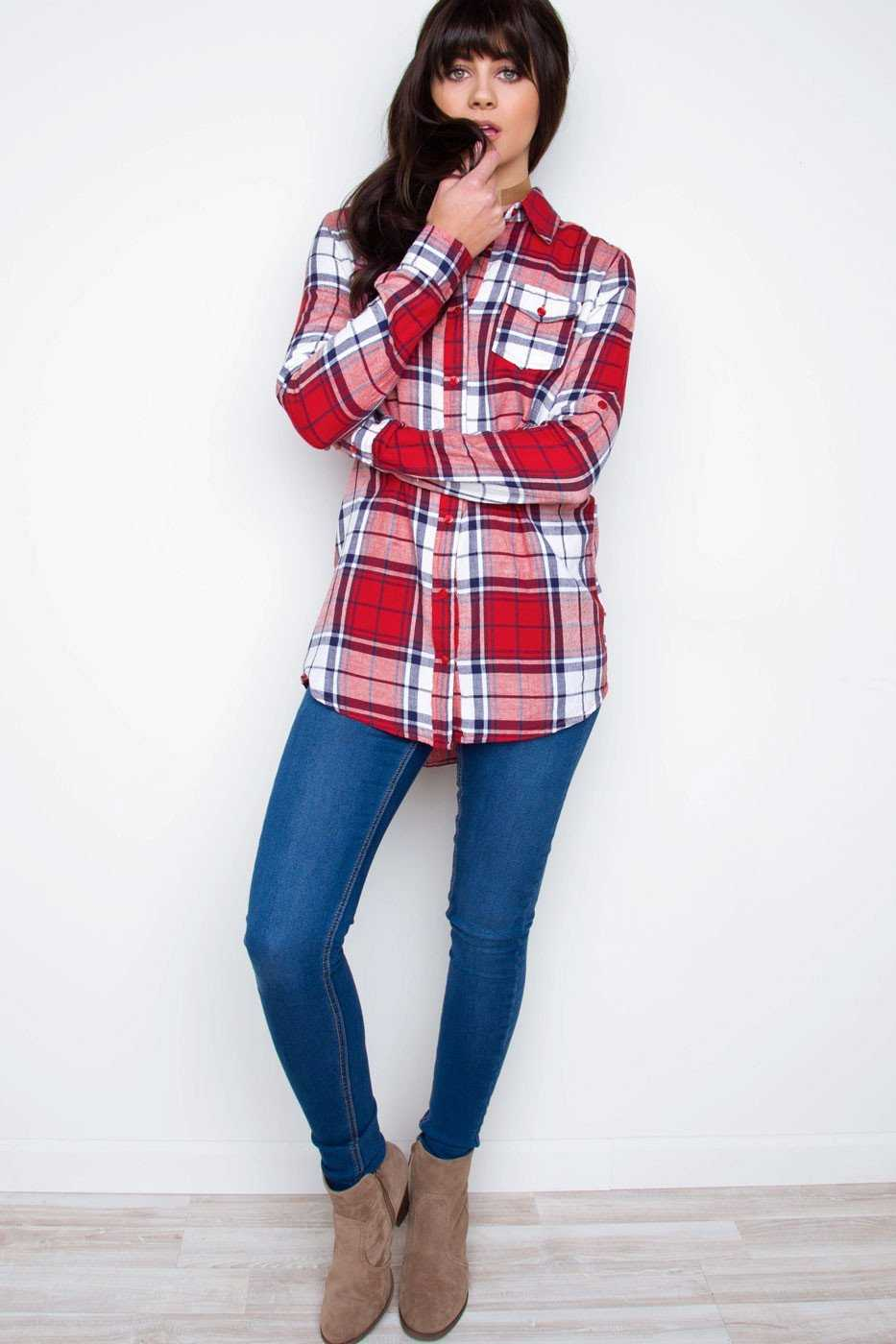 Tops - Up My Sleeves Plaid Top
