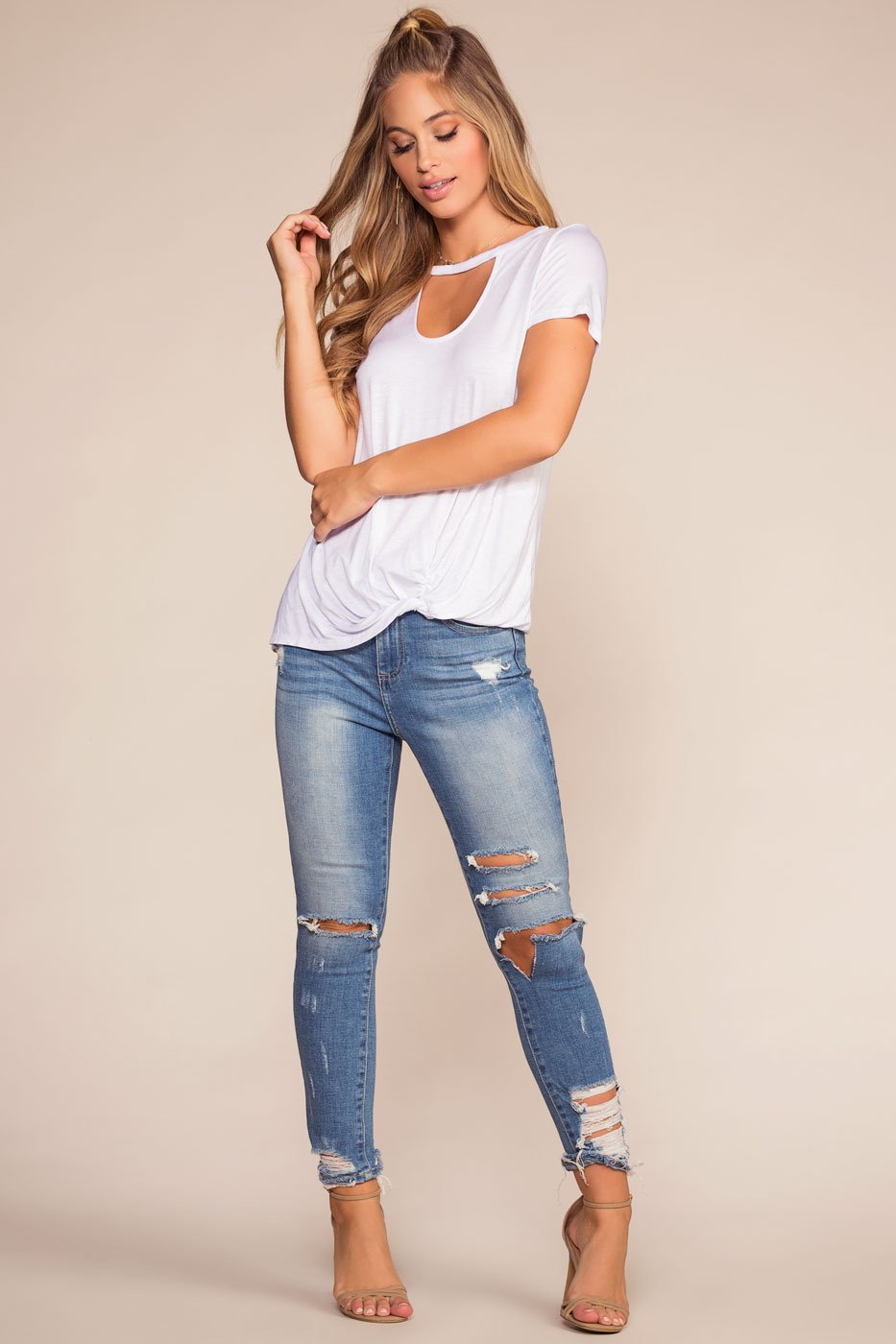 Tops - Upstage Keyhole Ruched Tee