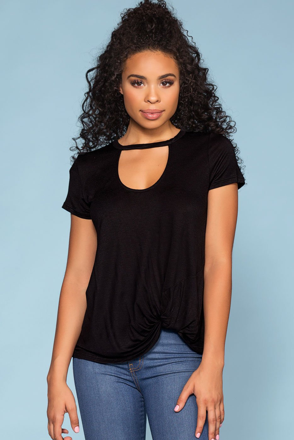 Tops - Upstage Keyhole Ruched Tee - Black