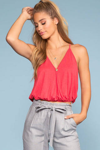 Balfor Polka Dot Tie-Front Crop Top
