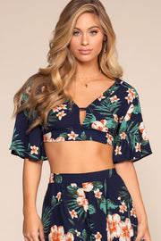 Tops - Valeria Tropical Floral Crop Top - Navy