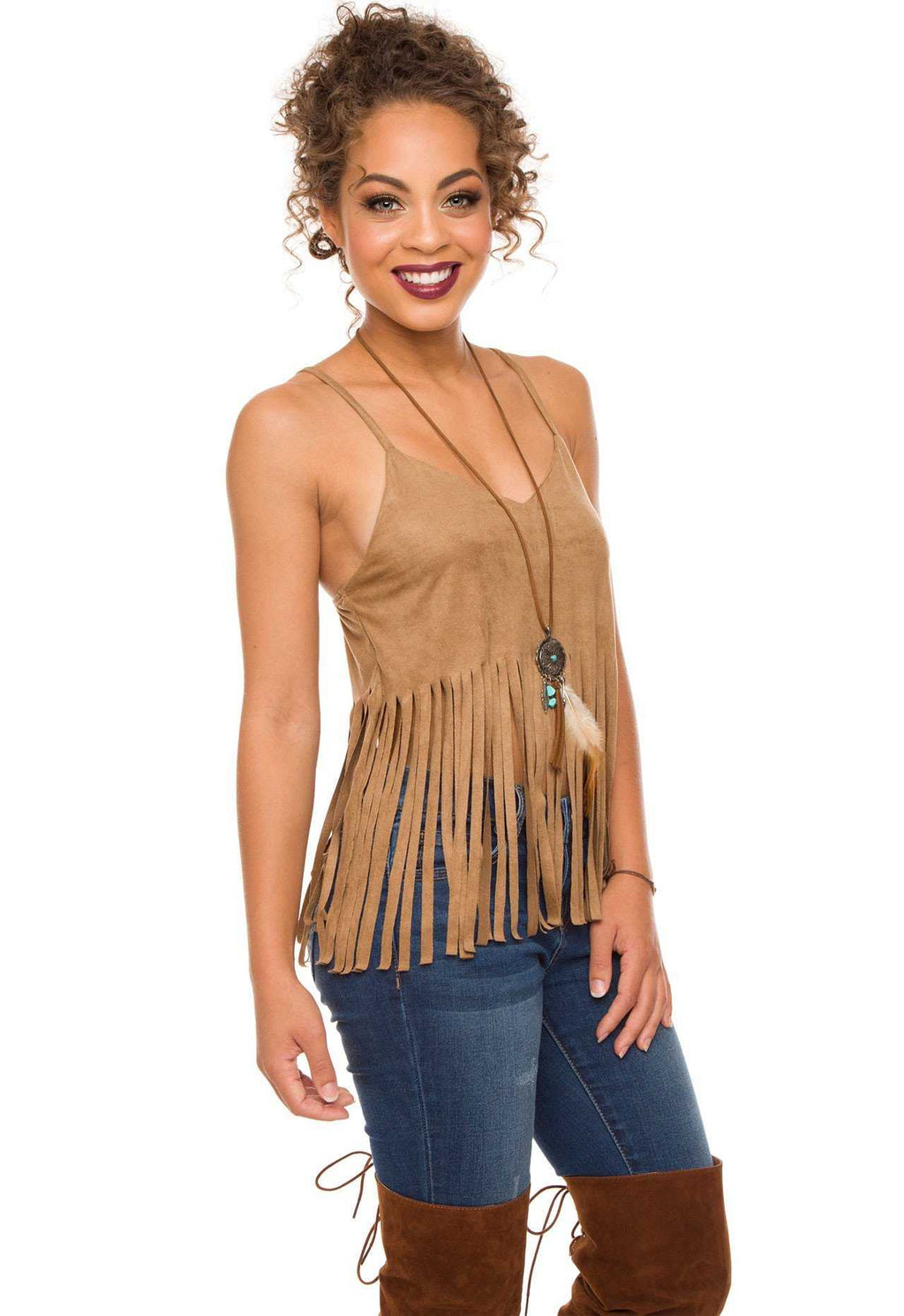 Tops - Vertigo Fringe Crop Top - Taupe