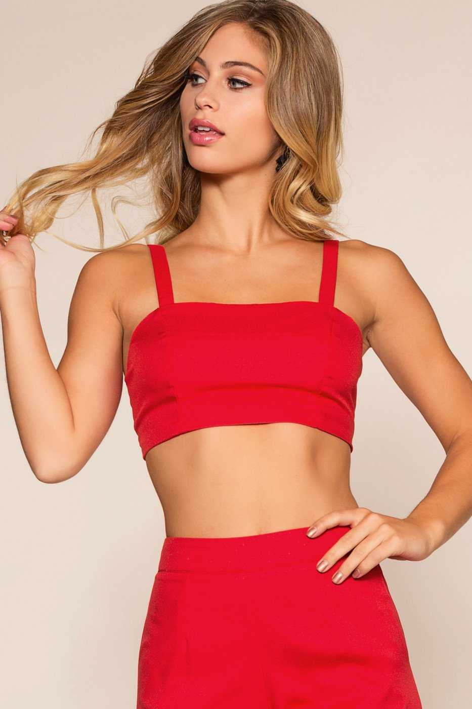 Tops - Victoria Crop Top - Red