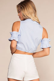 Tops - Weekend Brunch Button Up Tie Front Top