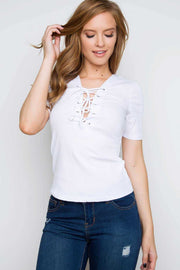 Tops - Why Not Lace Up Top - White