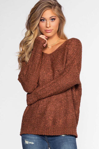 Marnie Coral Distressed Knit Sweater