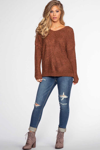 Tops - Wonder Girl Sweater - Brick