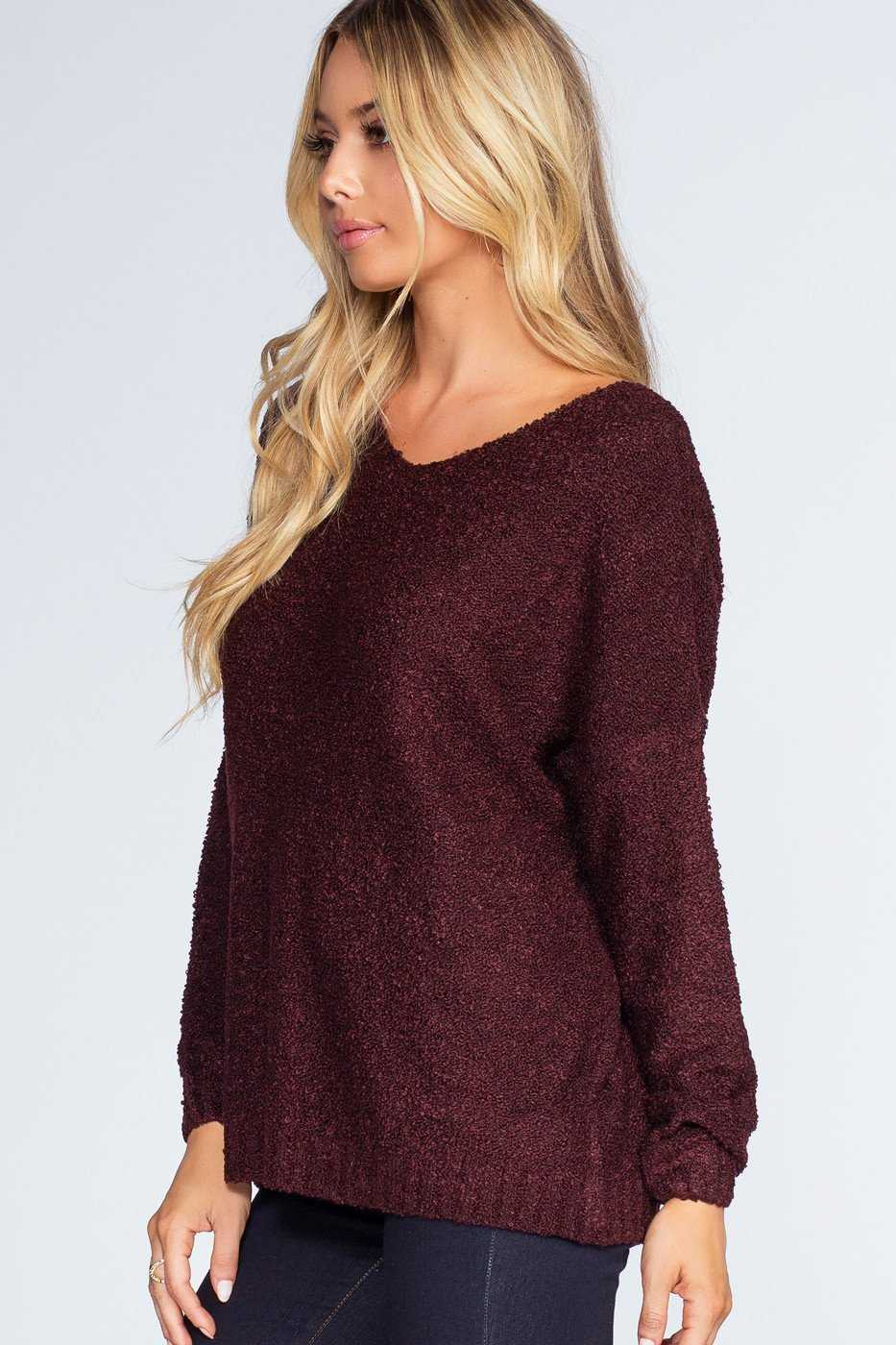 Tops - Wonder Girl Sweater - Burgundy
