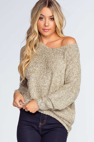 Cuddle Up Oversize Knit Sweater - Charcoal and Ivory