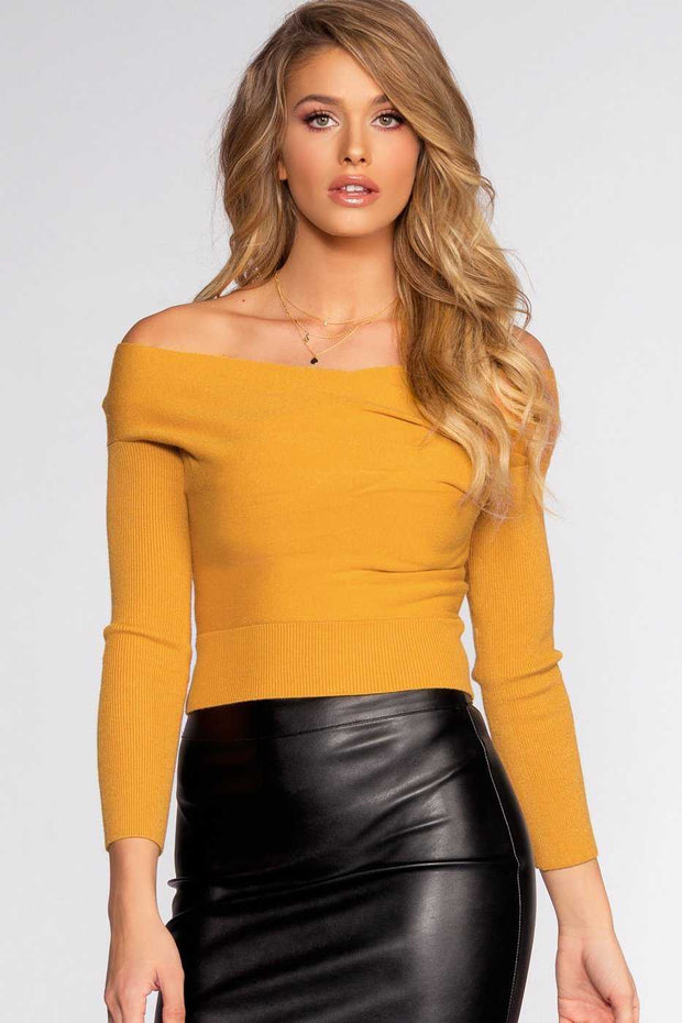 Tops - Wrapped In Love Sweater - Mustard
