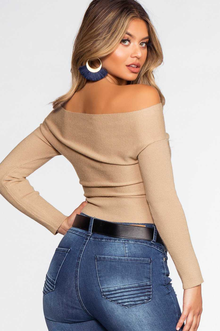 Tops - Wrapped In Love Sweater - Taupe