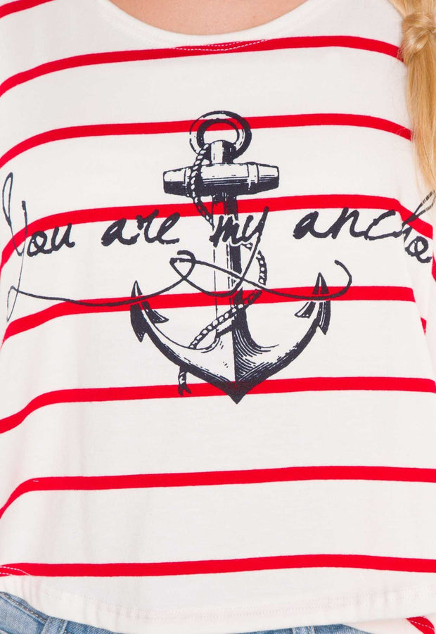 Tops - You Are My Anchor Crop Top - Red