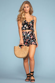 Tops - You Had Me At Hello Floral Lace Up Crop Top - Black