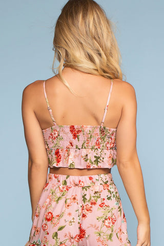 Tops - You Had Me At Hello Floral Lace Up Crop Top - Blush