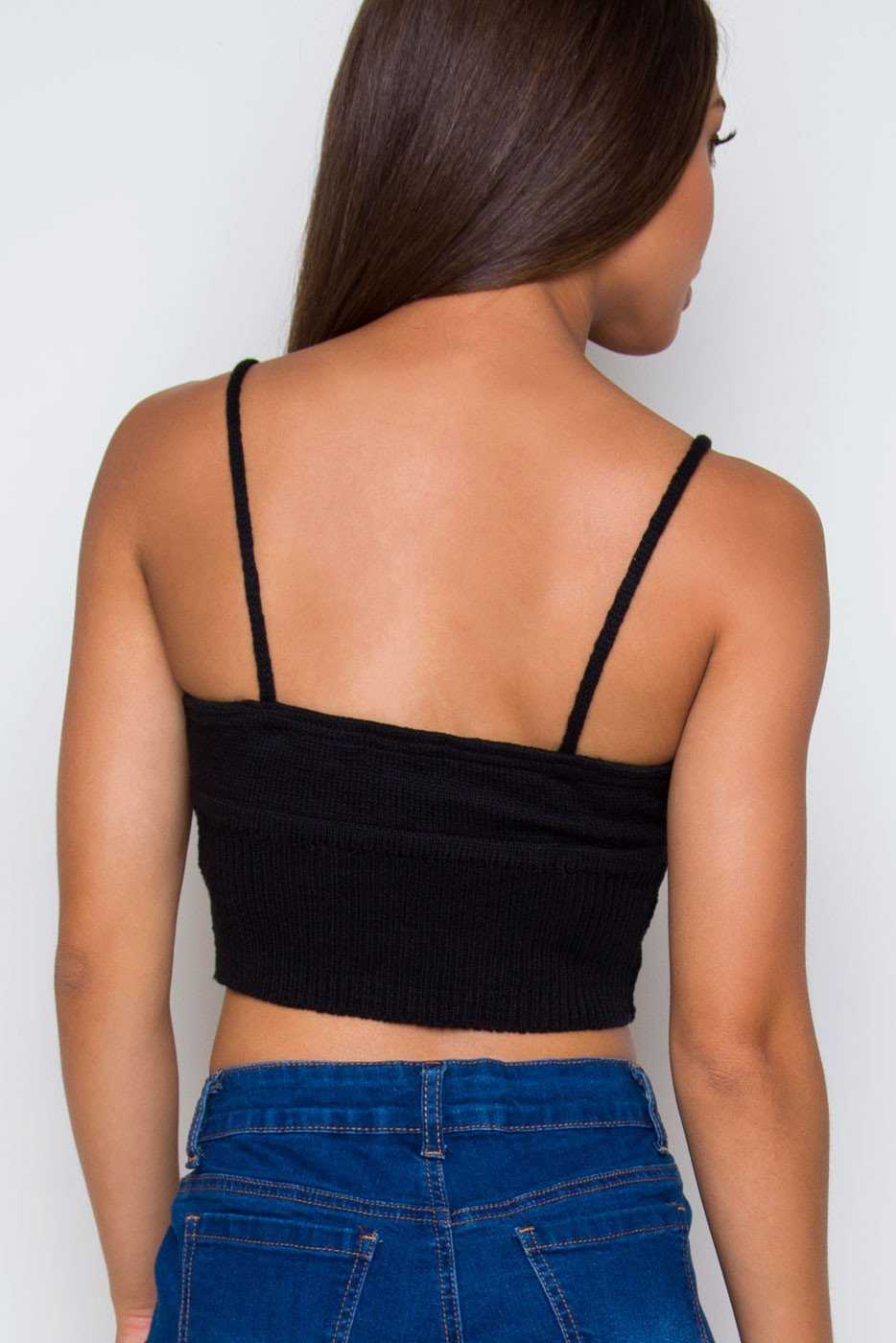 Tops - Zoe Knit Crop Top - Black