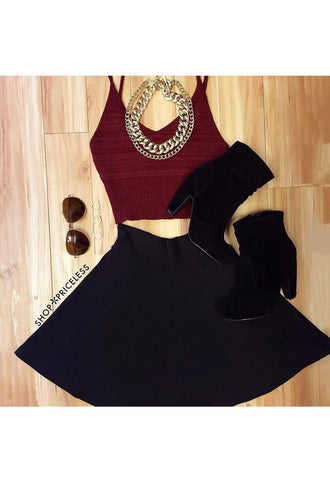Mallory Black Crop Tank Top