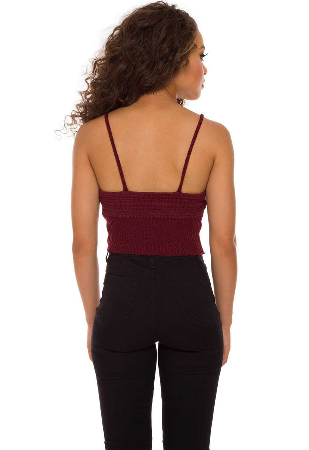 Tops - Zoe Knit Crop Top In Burgundy