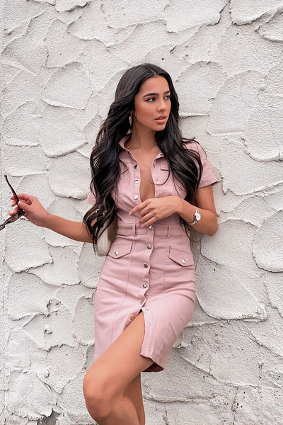 Check Yes Mauve Button Up Dress