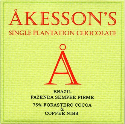 Åkesson's Single Estate 75% Cocoa and Coffee Nibs Bar