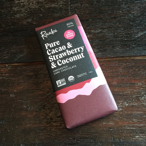 Raaka Pure Cacao & Strawberry & Coconut 80% Unroasted Dark Chocolate Bar