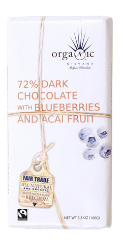 Nirvana Organic 72% Dark Belgian Chocolate with Blueberries and Acai Fruit