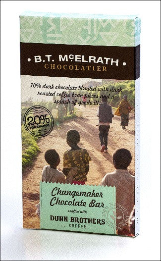 B.T. McElrath Changemaker 70% Chocolate Bar Crafted With Dunn Brothers Coffee
