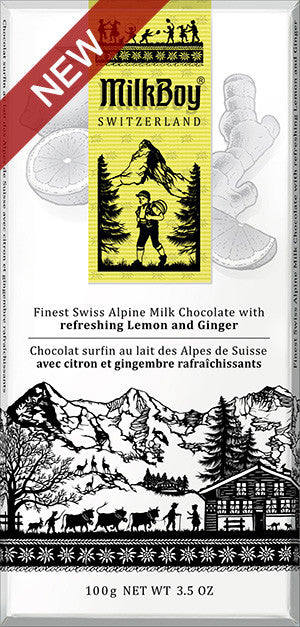 Milk Boy Finest Swiss Alpine Milk Chocolate with Refreshing Lemon and Ginger