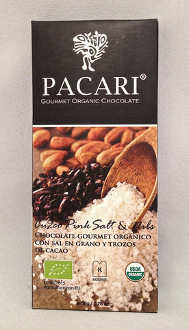 Pacari Sea Salt and Nibs Dark Chocolate Bar