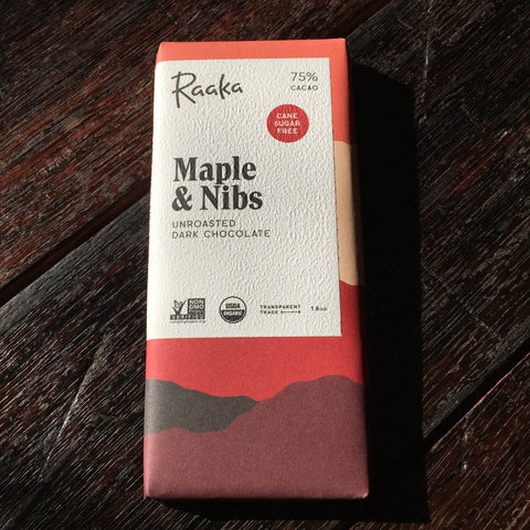 Raaka Unroasted Chocolate - Maple and Nibs 75% Bar