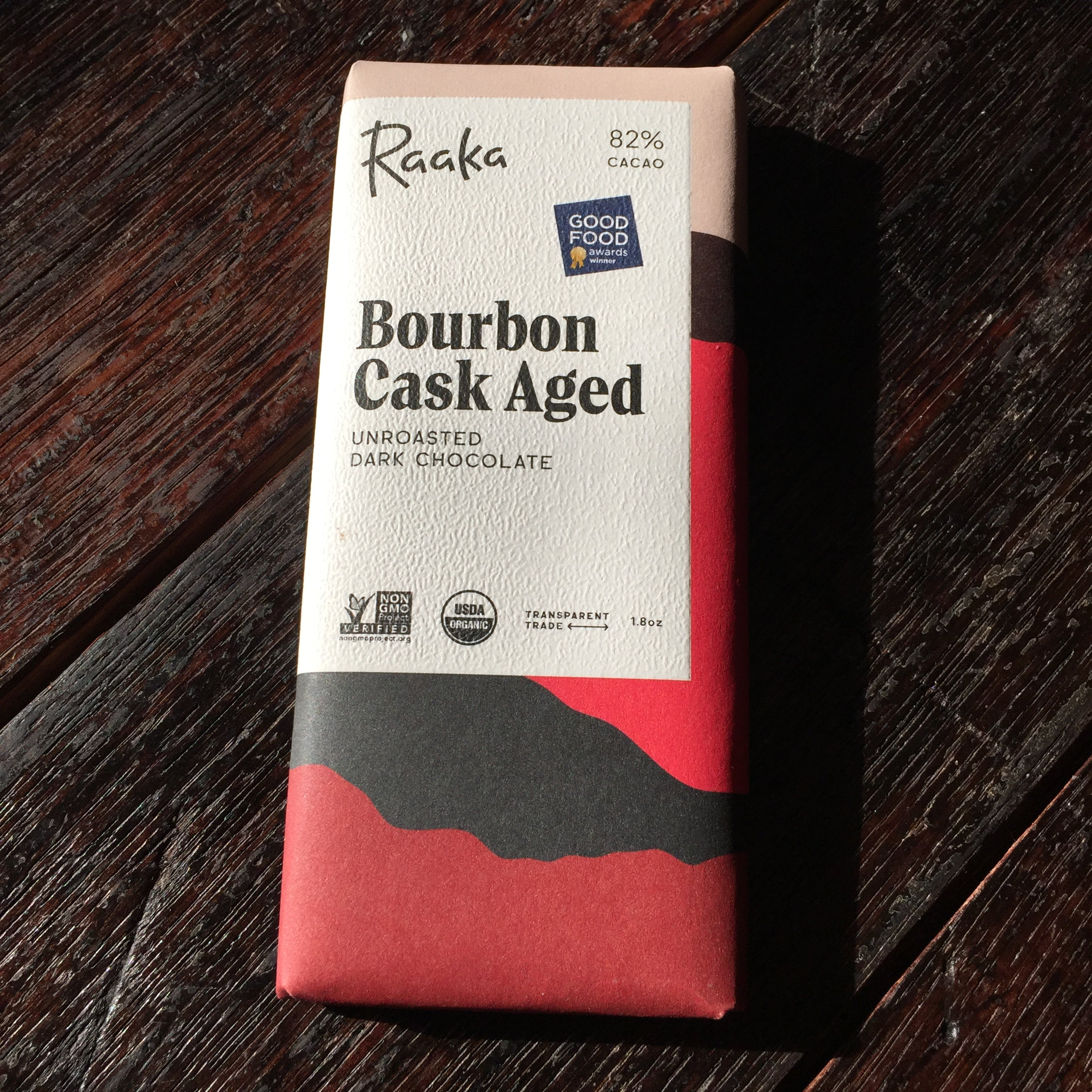 Raaka Unroasted Chocolate Bourbon Cask Aged 83% Bar