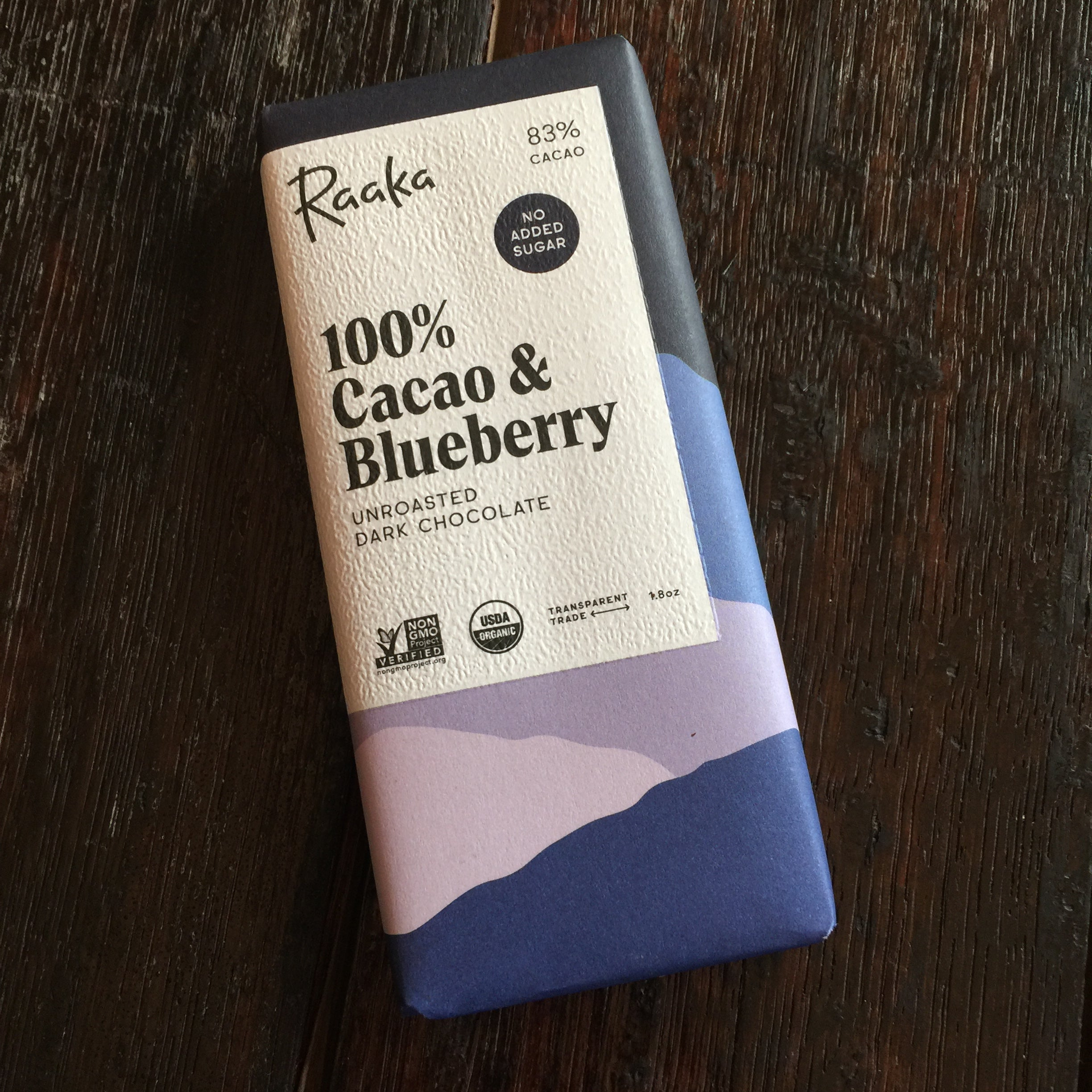 Raaka Unroasted Dark Chocolate Sugar Cane Free - 100% Cacao & Blueberry Bar
