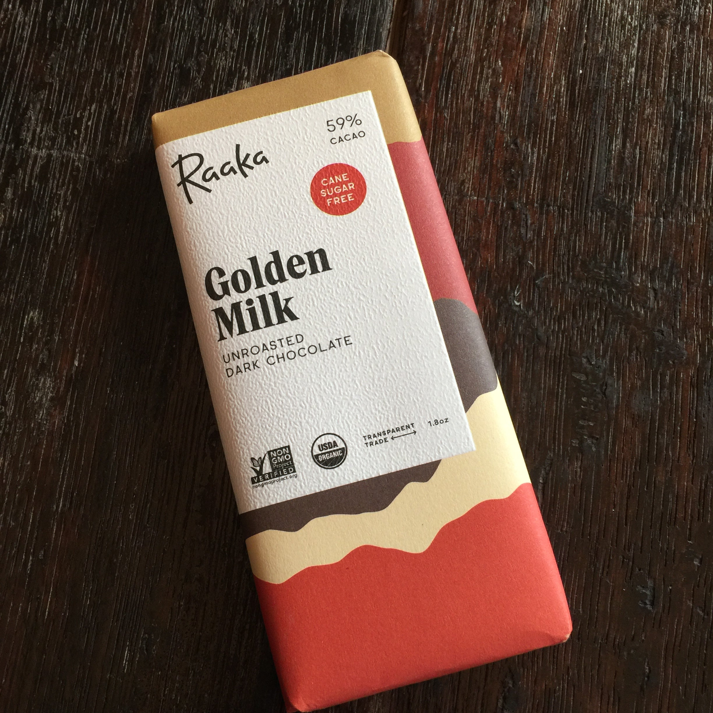 Raaka Unroasted Dark Chocolate Sugar Cane Free - Golden Milk 59% Bar