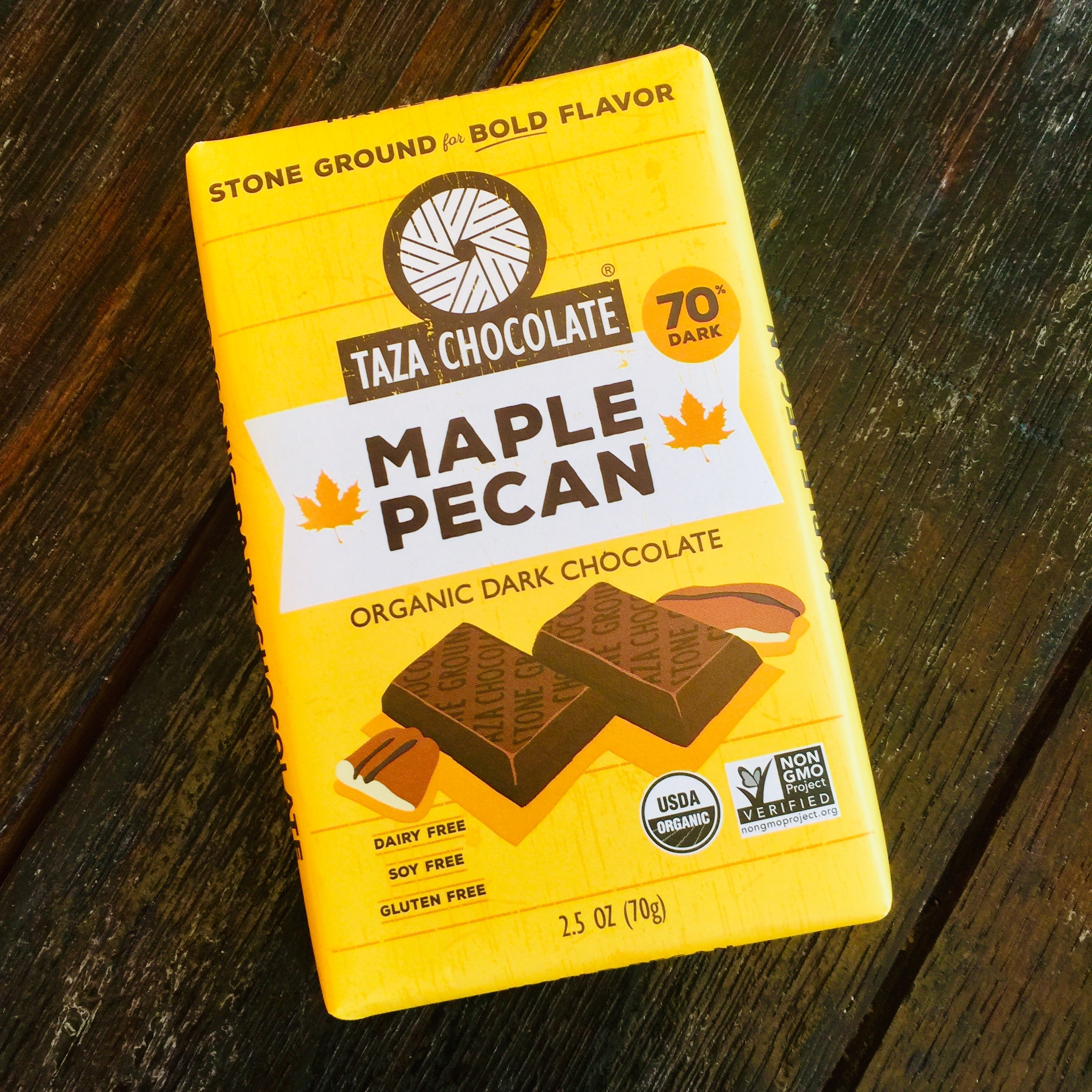 Taza Maple Pecan 70% Dark Chocolate Bar
