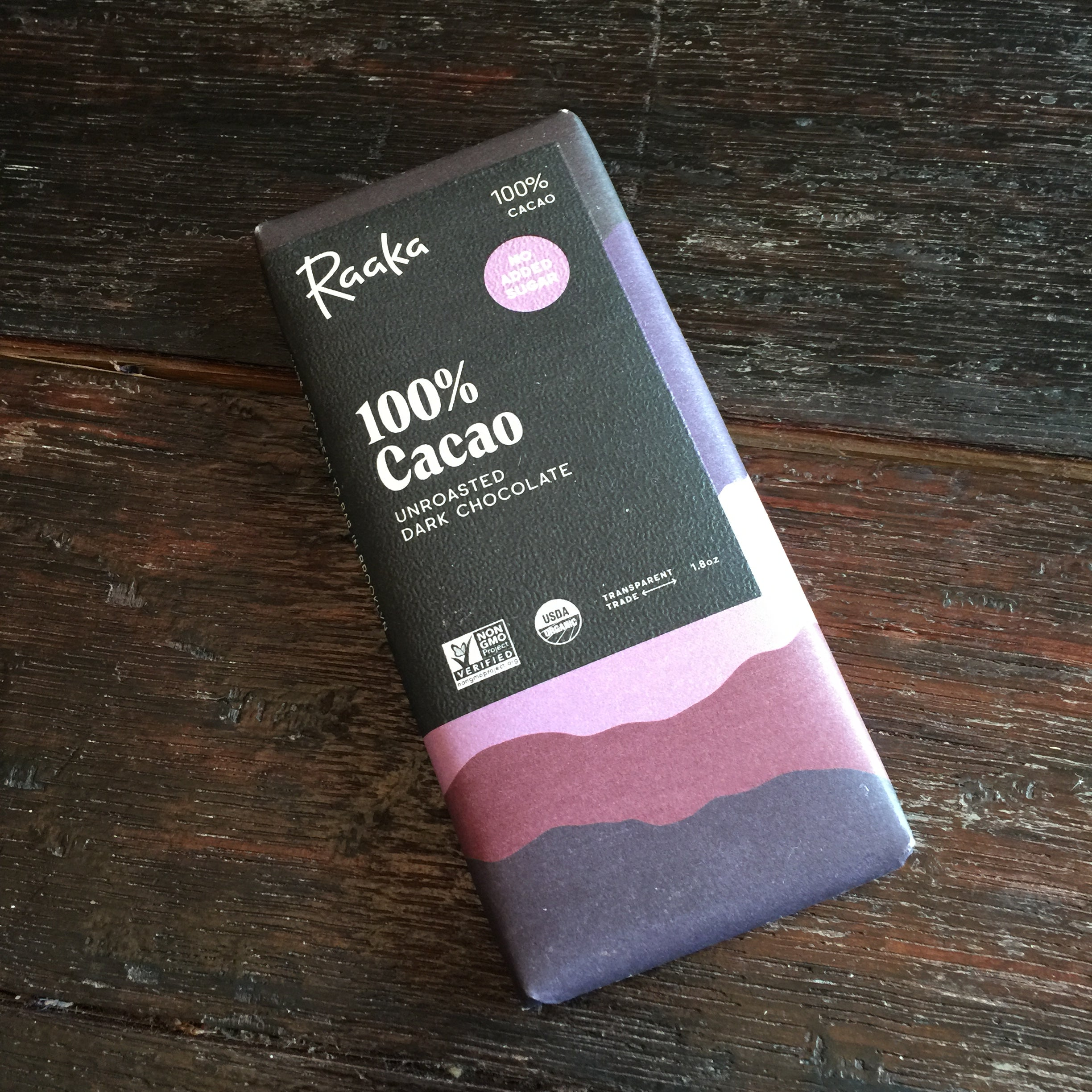 Raaka 100% Cacao Unroasted Dark Chocolate Bar