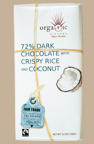 Nirvana Organic 72% Dark Belgian Chocolate with Crispy Rice and Coconut