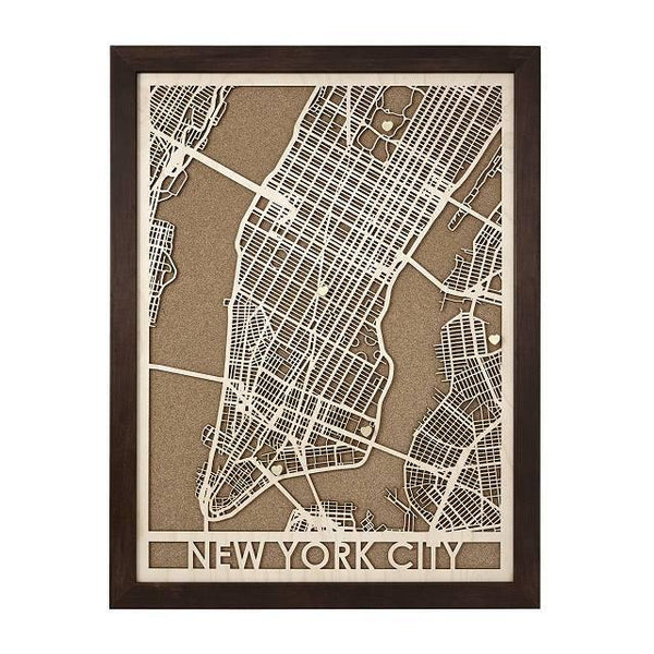 "18""x24"" Wood and Cork Framed Map"