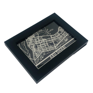 "Abu Dhabi - Stainless Steel Map - 5""x7"""