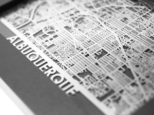 "Albuquerque - Stainless Steel Map - 5""x7"" - Cool Cut Map Gift"