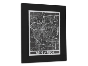 Ann Arbor 11x14 Stainless Steel - Cool Cut Map Gift